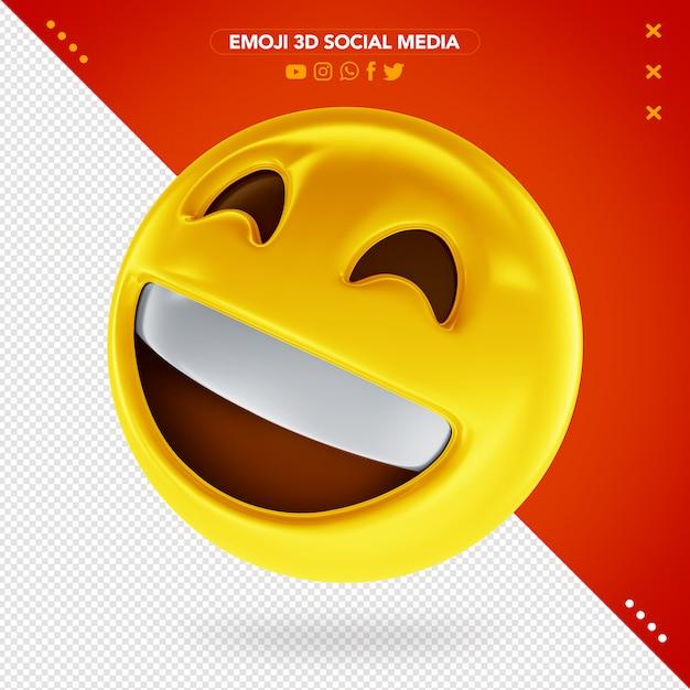 Emoji Visage Rayonnant 3d Avec Des Yeux Souriants Et Un Sourire Très Heureux PSD Premium