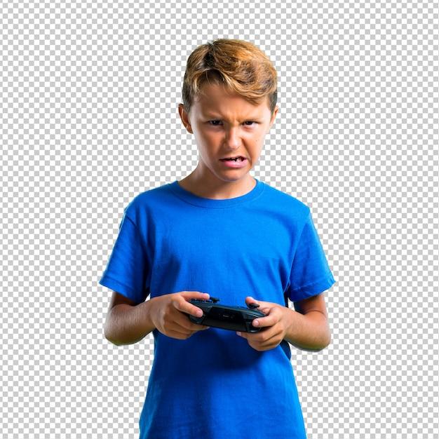 Enfant frustré jouant de la console PSD Premium