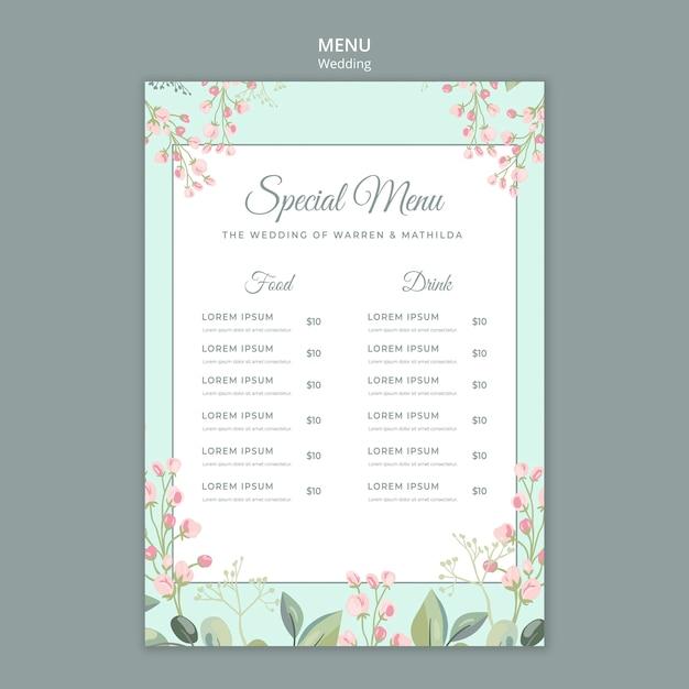 Enregistrer Le Modèle De Menu De Mariage Floral De Date Psd gratuit