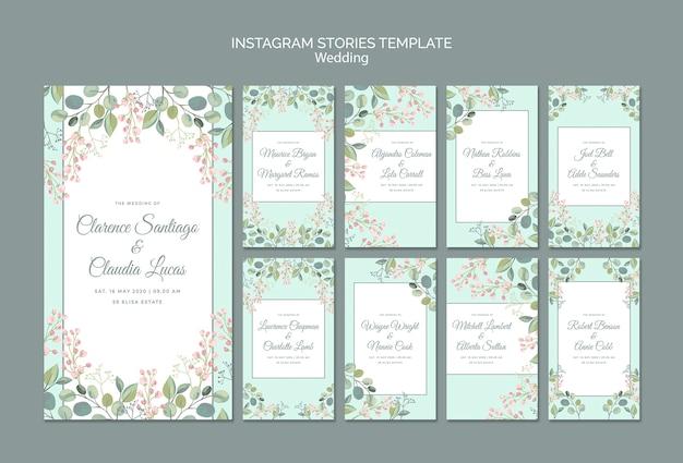 Enregistrez La Date Des Histoires Instagram De Mariage Floral Psd gratuit