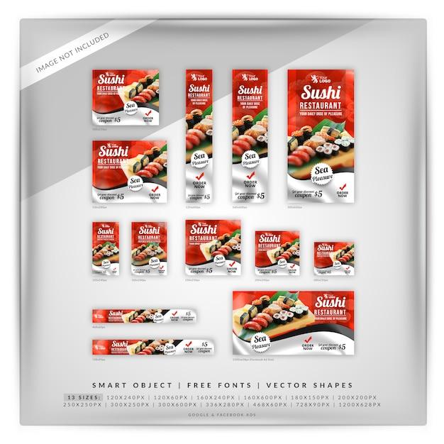 Ensemble de bannière de promotion de restaurant de sushi PSD Premium