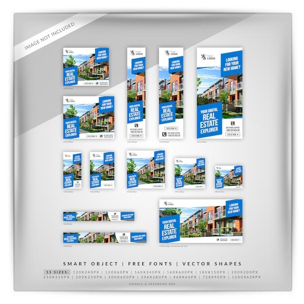 Ensemble de bannières google immobilier PSD Premium