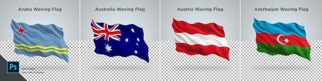 Ensemble de drapeaux d'aruba, australie, autriche, azerbaïdjan drapeau sur transparent PSD Premium