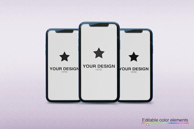 Ensemble De Maquettes De 3 Smartphones PSD Premium