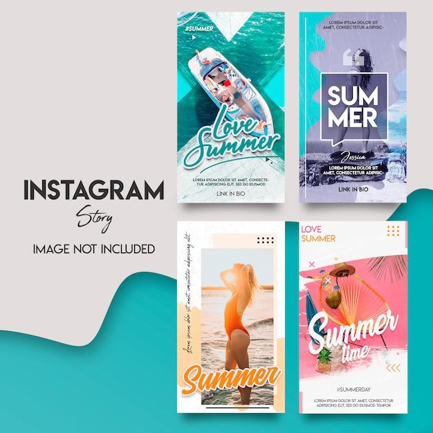 Ensemble De Modèles D'histoire Instagram D'été PSD Premium