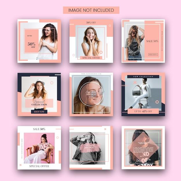 Ensemble de modèles de mode instagram PSD Premium