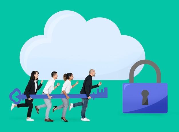 Équipe commerciale avec sécurité internet PSD Premium