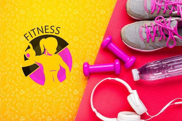 Équipement De Cours De Fitness Et Des écouteurs Psd gratuit