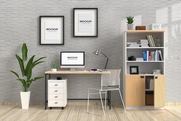 Espace De Travail à L'intérieur De La Maison Avec Maquette D'ordinateur Et De Cadres PSD Premium