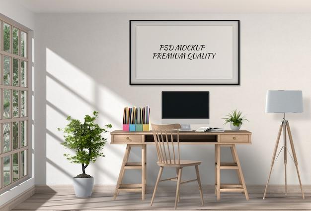 Espace de travail moderne avec bureau et ordinateur portable PSD Premium