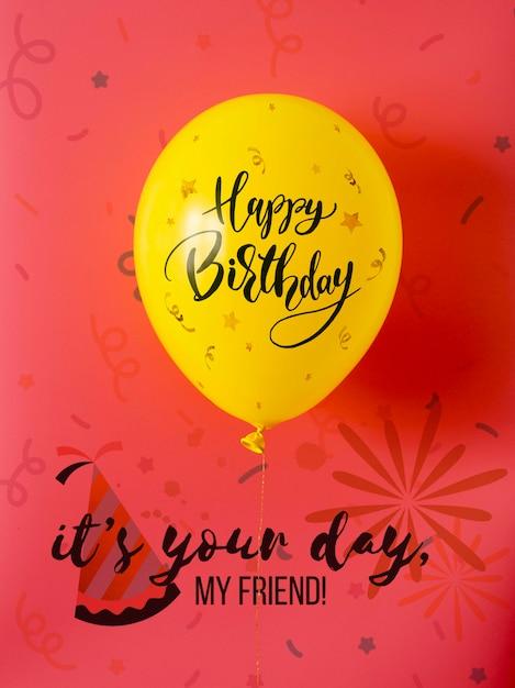 C'est Ton Jour Mon Ami Avec Des Ballons De Joyeux Anniversaire Psd gratuit