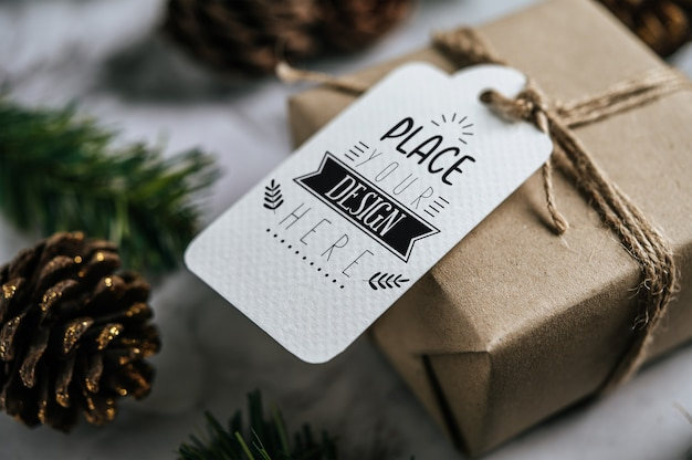 Étiquette De Cadeau De Noël Psd gratuit