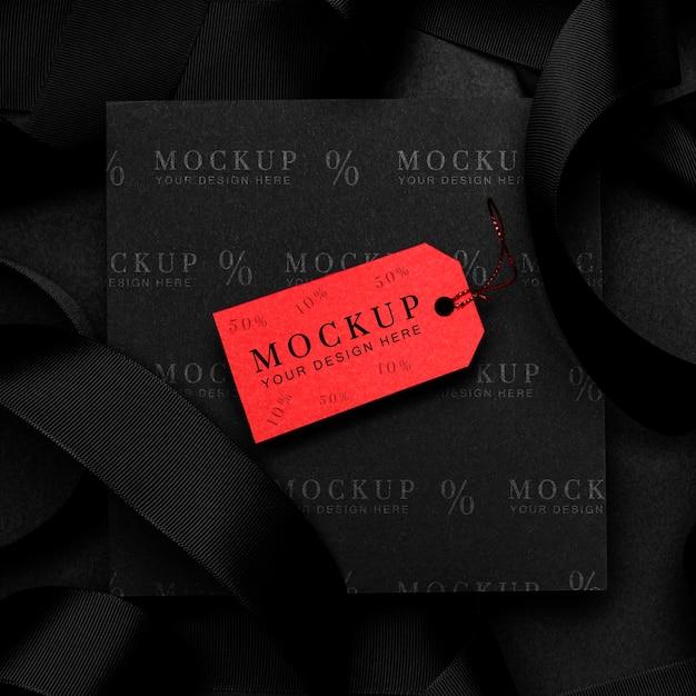 Étiquette De Maquette Rouge Vendredi Noir Psd gratuit