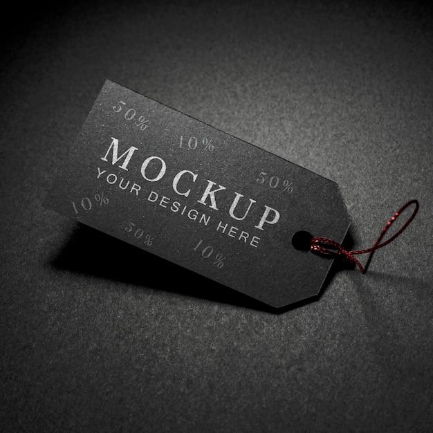 Étiquette De Prix Du Vendredi Noir Maquette Haute Vue Avec Fil Psd gratuit