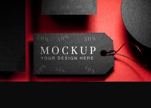 Étiquette De Prix Du Vendredi Noir Maquette Vue De Dessus Avec Fil Psd gratuit