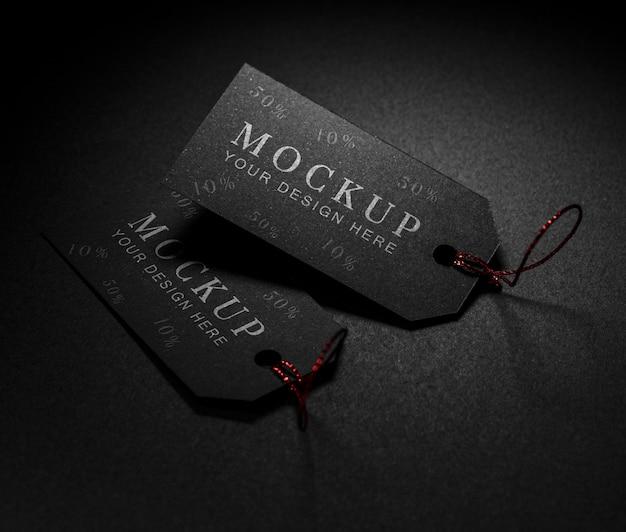 Étiquettes De Maquette De Vendredi Noir à La Lumière Psd gratuit