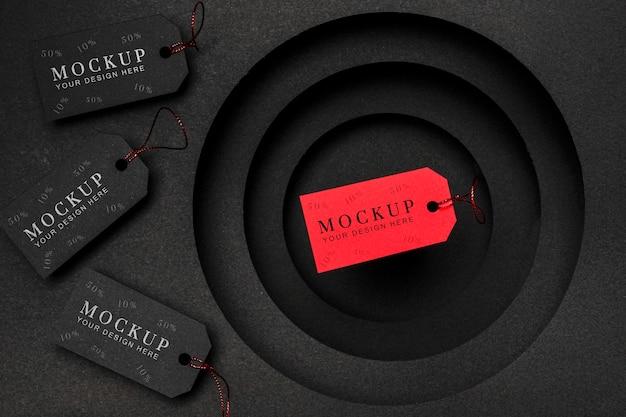 Étiquettes De Prix Rouges Et Noires Maquette De Vente Du Vendredi Noir Psd gratuit