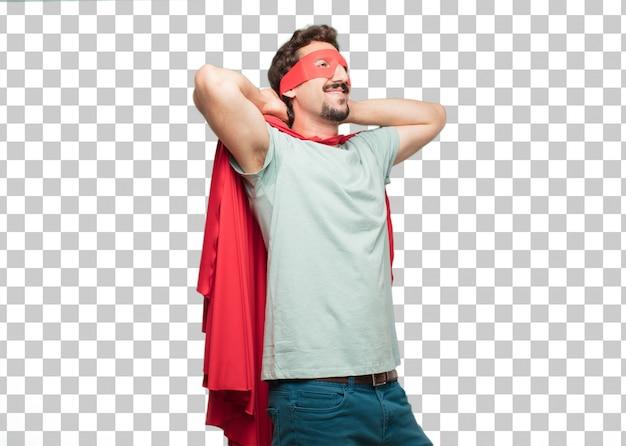 Expression de satisfaction jeune homme fou de super-héros PSD Premium