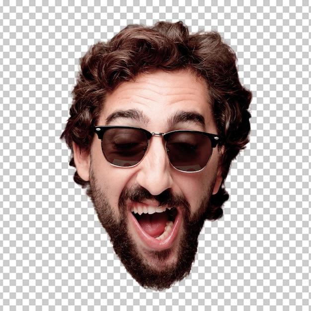 Expression de tête de jeune homme fou barbu isolé. rôle de hipster avec des lunettes de soleil. pose heureuse PSD Premium