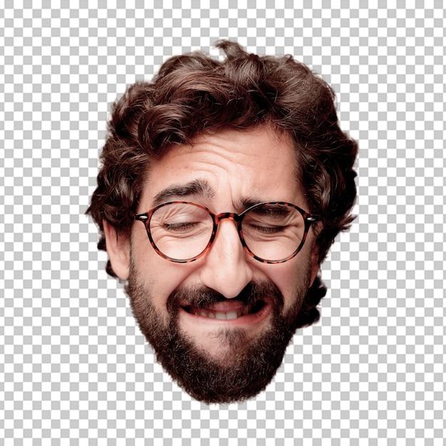 Expression de tête de jeune homme fou barbu isolé. rôle de hipster avec des lunettes de vue. concept triste PSD Premium