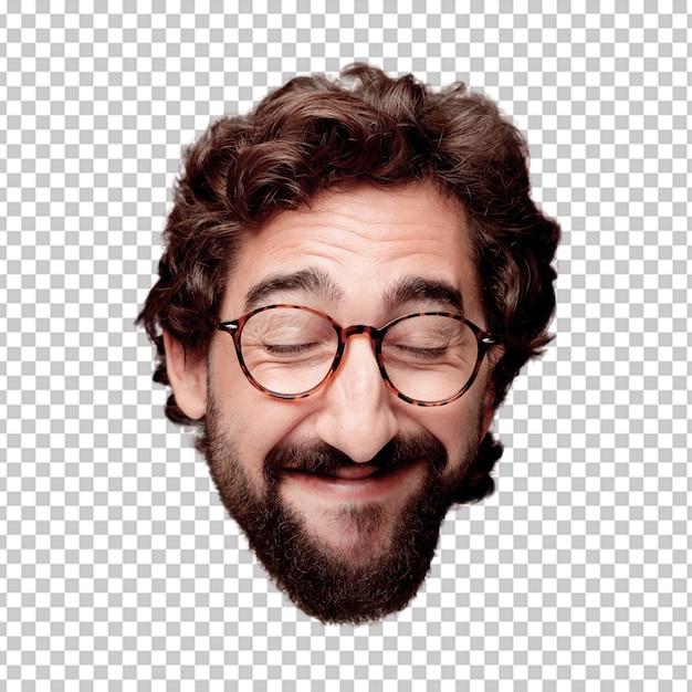 Expression de tête de jeune homme fou barbu isolé. rôle de hipster avec des lunettes de vue. pose heureuse PSD Premium
