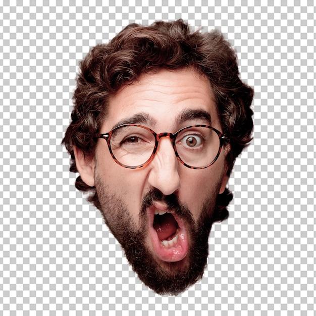 Expression de tête de jeune homme fou barbu isolé. rôle hipster avec lunettes de vue PSD Premium