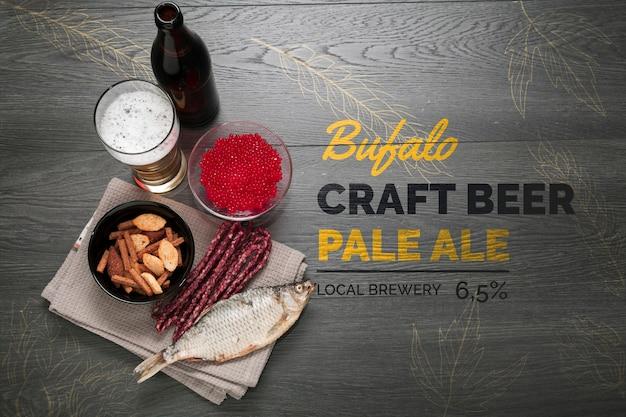 Fabriquer De La Bière Et Des Collations Pour Manger Une Maquette Psd gratuit