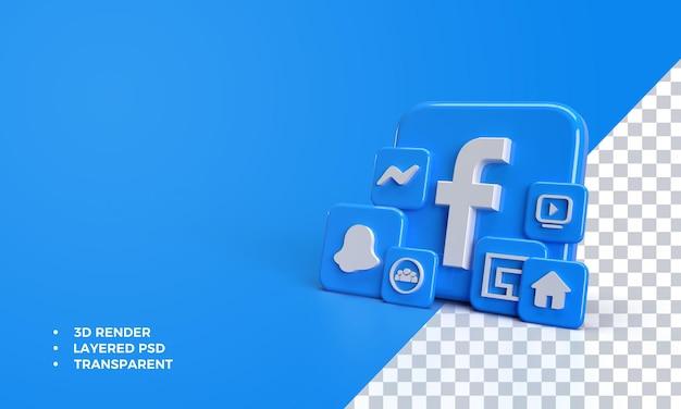 Facebook 3d Avec Icône Dans L'application Facebook PSD Premium