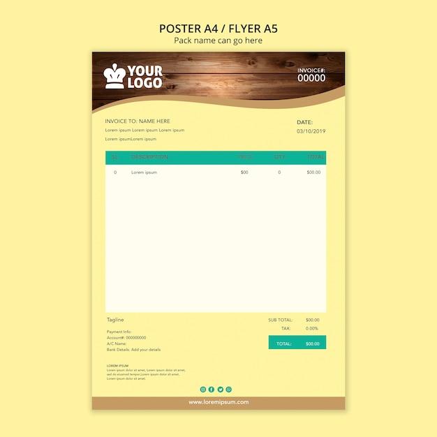 Facture De Papeterie Commerciale Pour Restaurant Psd gratuit