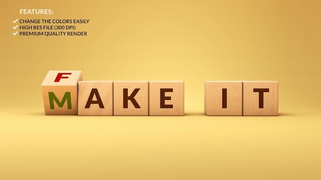 Fake It Make It Cubes En Bois Dans Le Rendu 3d PSD Premium