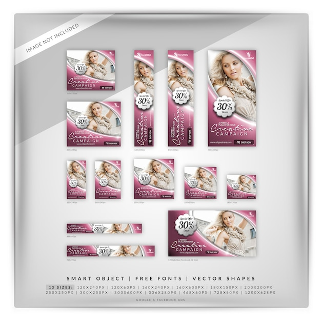 Fashion & sale creative banner set PSD Premium