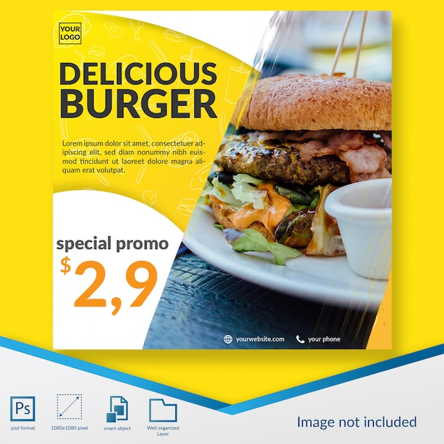 Fast food burger offre promotionnelle spéciale offre de médias sociaux post template PSD Premium
