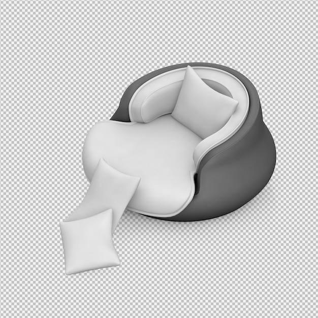 Fauteuil isométrique rendu 3d PSD Premium