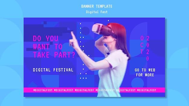 Femme à L'aide D'un Modèle De Bannière De Casque De Réalité Virtuelle Psd gratuit