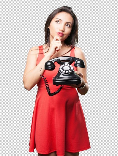 Femme Asiatique, Tenir Téléphone PSD Premium