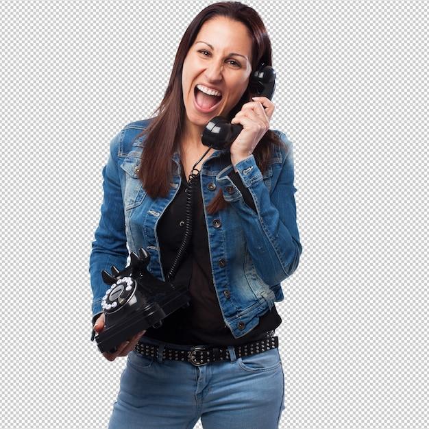 Femme, Conversation Téléphone PSD Premium