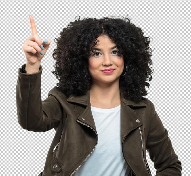 Femme frisée pointant vers le haut PSD Premium