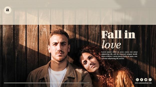 Femme, homme, automne, modèle web Psd gratuit