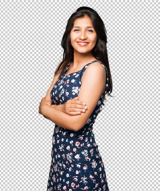 Femme latine croisant les bras PSD Premium