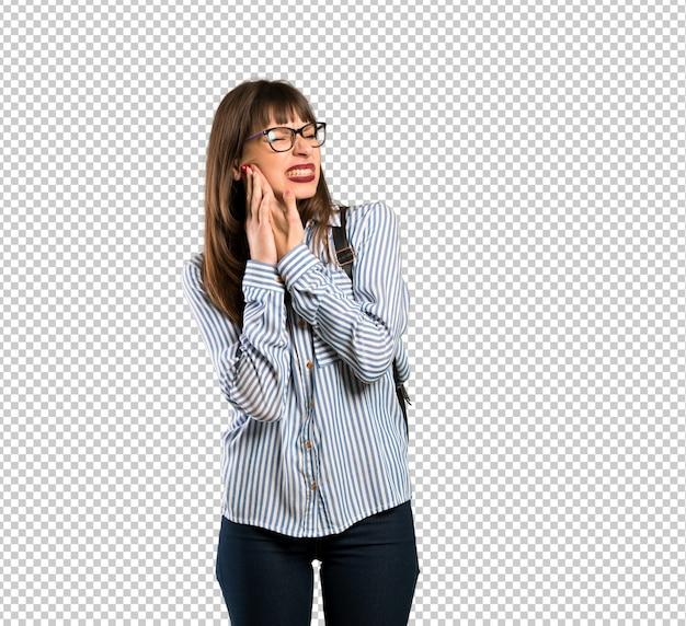 Femme Avec Des Lunettes Avec Maux De Dents PSD Premium