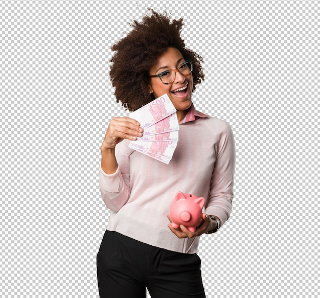 Femme noire tenant une tirelire et des factures PSD Premium