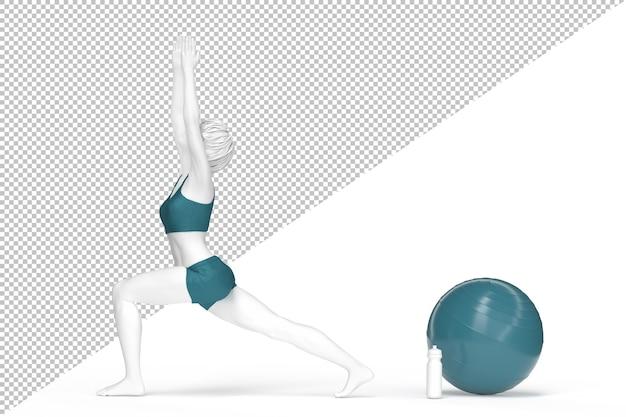 Femme En Posture De Guerrier Pendant La Pratique Du Yoga PSD Premium
