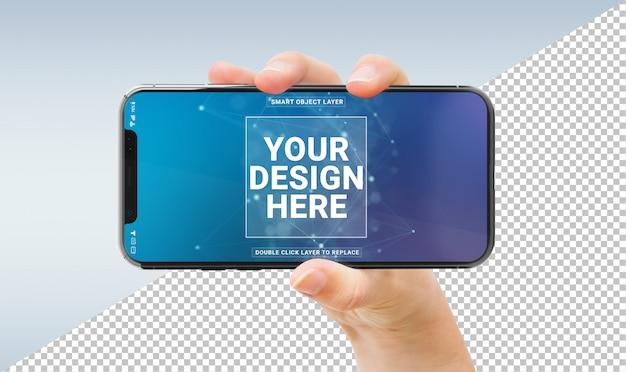 Femme tenant une maquette de smartphone moderne PSD Premium