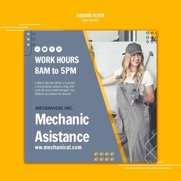 Femme Travaillant Comme Assistant Mécanicien Flyer Carré Psd gratuit