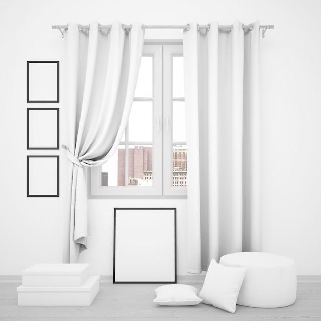 Fenêtre élégante Avec Des Cadres Photo Vierges Autour Psd gratuit
