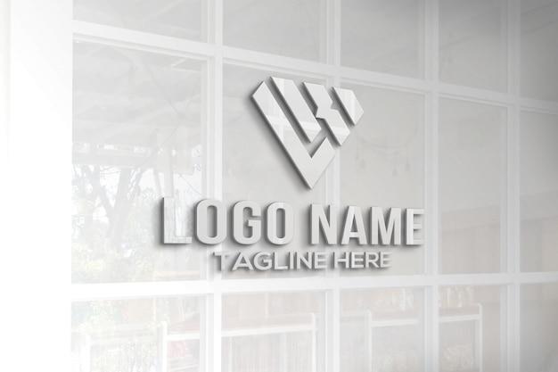 Fenêtre En Verre Maquette Logo 3d PSD Premium