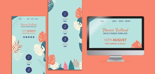 Festival de fleurs dessiné main instagram storiestemplate Psd gratuit