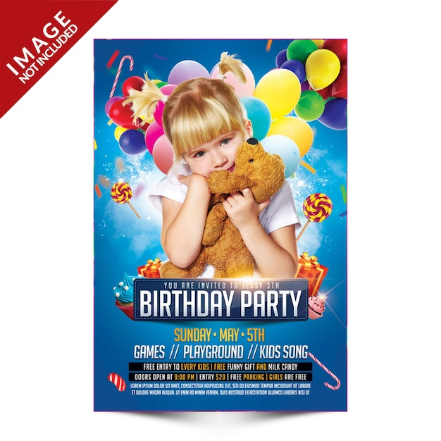 Fête d'anniversaire des enfants PSD Premium