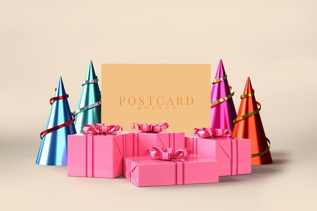 Fête De Célébration Avec Décorations De Boîte-cadeau PSD Premium