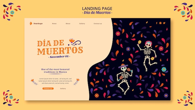 Fêtez La Page De Destination De La Culture Du Mexique Mort Psd gratuit
